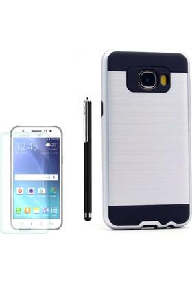 Gpack Samsung Galaxy C7 Kılıf Çift Katmanlı Darbe Emici Sert Kapak +Kalem +Cam