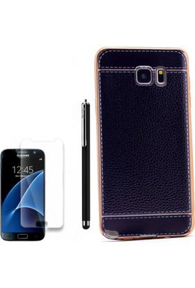 Gpack Samsung Galaxy Note 5 Kılıf Deri Görünüm Lazer Silikon Kapak +Kalem +Cam