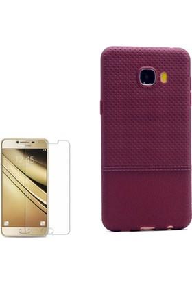 Gpack Samsung Galaxy C5 Kılıf Matrix Silikon Arka Kapak +Cam