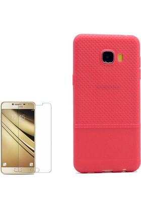 Gpack Samsung Galaxy C7 Kılıf Matrix Silikon Arka Kapak +Cam