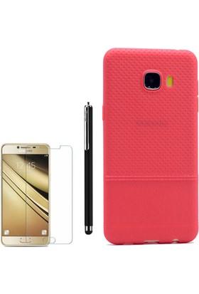 Gpack Samsung Galaxy C7 Kılıf Matrix Silikon Arka Kapak +Kalem +Cam