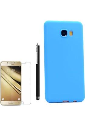 Gpack Samsung Galaxy C7 Kılıf Premier Silikon Yumuşak Arka Kapak +Kalem +Cam
