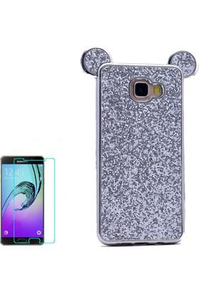 Gpack Samsung Galaxy A3 2016 Kılıf Taşlı Micky Silikon Arka Kapak +Cam