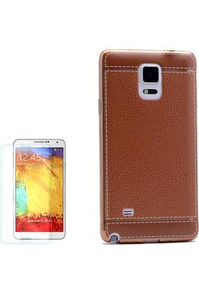 Gpack Samsung Galaxy Note 3 Kılıf Deri Görünüm Lazer Silikon Arka Kapak +Cam