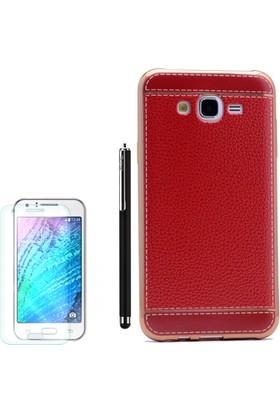 Gpack Samsung Galaxy On7 Kılıf Deri Görünüm Lazer Silikon Kapak +Kalem +Cam