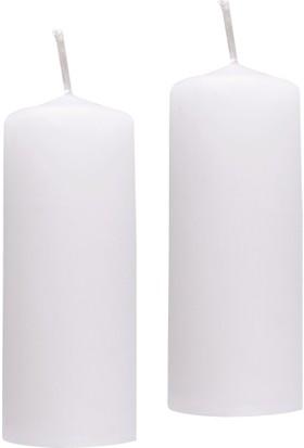 KullanAtMarket Beyaz Silindir Mum 2'Li
