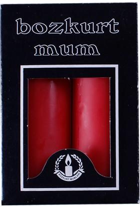 KullanAtMarket Kırmızı Silindir Mum 2'Li