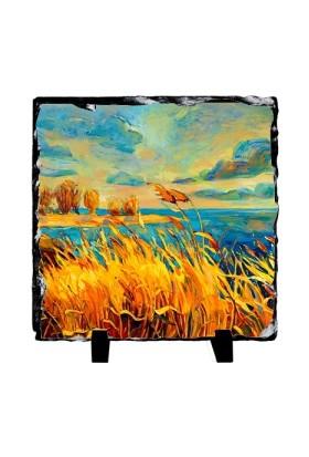 Fotografyabaski Göl Ve Kır (Yağlı Boya) - Kare Taş 15X15Cm