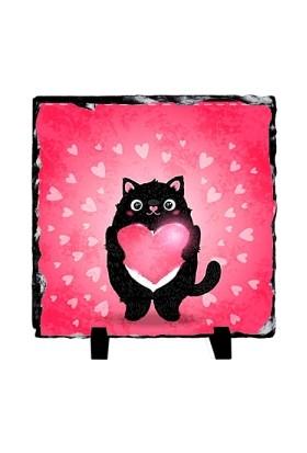 Fotografyabaski Şişman Sevimli Siyah Kedi - Kare Taş 15X15Cm