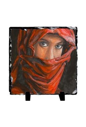 Fotografyabaski Arap Kadın Portre - Kare Taş 15X15Cm