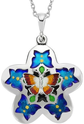 Goldstore Mineli Renkli Kelebekler Papatya Gümüş Kolye Sp33347