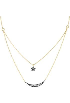 Goldstore 14 Ayar Altın Ay Yıldız Kolye Gp36749