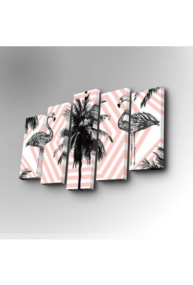 Flamingo 5 Parça Canvas Tablo 5PUC-71