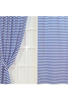 Lacivert-Beyaz Dijital Baskılı Soft Fon Perde Seti - Çizgi