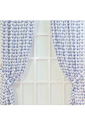 Lacivert-Beyaz Çapa Desen Soft Fon Perde Seti