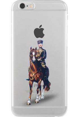 Remeto Atatürk At Üstünde Apple iPhone 7 Plus Şeffaf Transparan Silikon Resimli Kılıf