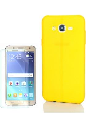 Gpack Samsung Galaxy S3 Kılıf Taksim Silikon Deri Görünüm Arka Kapak Sarı +Cam