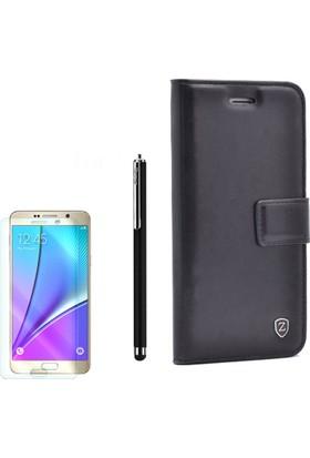 Gpack Samsung Galaxy Note 5 Kılıf Kartvizitli Standlı Delüx Siyah +Kalem+ Cam