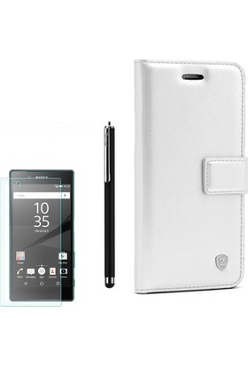 Gpack Sony Xperia Z5 Premium Kılıf Kartvizitli Standlı Delüx Beyaz +Kalem+ Cam