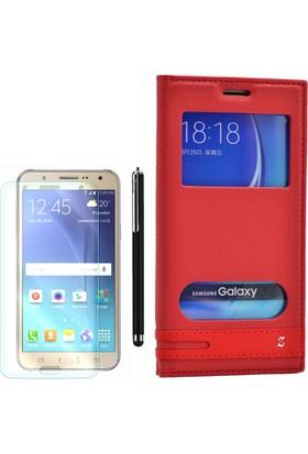 Gpack Samsung Galaxy C7 Kılıf Pencereli Gizli Mıknatıslı Kırmızı +Kalem+ Cam