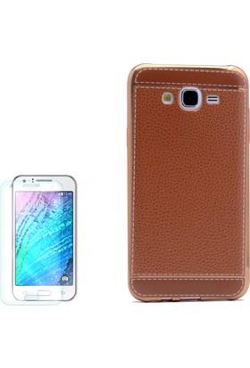 Gpack Samsung Galaxy J5 2015 Kılıf Derili Lazer Silikon Açık Kahve + Cam