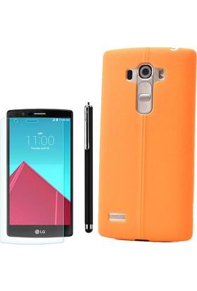 Gpack LG G4 Kılıf Taksim Deri Görünüm Silikon Arka Kapak Turuncu +Kalem + Cam