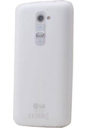 Gpack LG G4C Kılıf Taksim Deri Görünüm Silikon Arka Kapak Beyaz