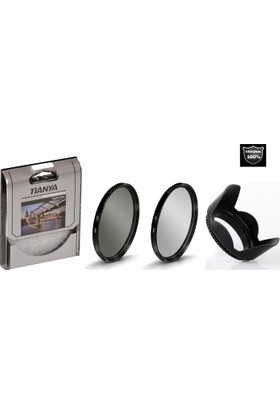 Tianya 58mm Koruyucu Uv Filtre + Cir Cpl Circular Polarize Filtre + Yaprak Parasoley