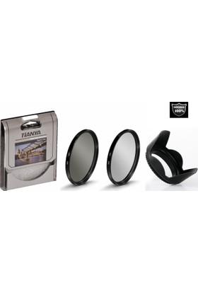 Nikon 18-55mm Lens için Koruyucu Uv Filtre + Cir Cpl Circular Polarize Filtre + Yaprak Parasoley -Tianya-