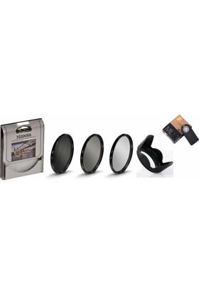Nikon 18-55mm Lens için Koruyucu Uv + Cpl Polarize + Nd8 Filtre + Yaprak Parasoley + Ml-l3 Kumanda -Tianya-
