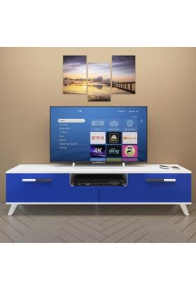 Eyibil Mobilya Güney 180 cm Gövde Beyaz Kapak Mdf High Gloss Tv Sehpası Tv Ünitesi
