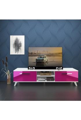 Eyibil Mobilya Güneş 180 cm Gövde Beyaz Kapak Mdf High Gloss Tv Sehpası Tv Ünitesi
