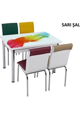 Osmanlı Mobilya Osmanlı Mutfak Masa Takımı Sarı Şal Desen Masa + 4 Sandalye