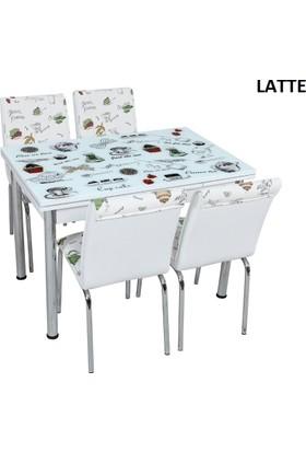 Osmanlı Mobilya Osmanlı Mutfak Masa Takımı Latte Desen Masa + 4 Sandalye