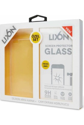 Lıxon Apple iPhone 6 S Cam Ve Silikon Seffaf Kılıf + Korucu Cam
