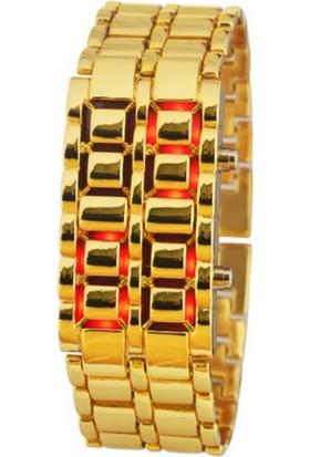 Nomnom Iron Samurai Bileklik Tasarımlı Led Saat - Gold Gövde Kırmızı Led