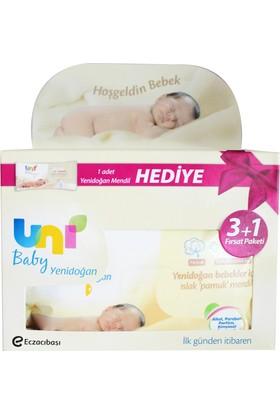 Uni Baby Yenidoğan Islak Pamuk Mendil 3+1