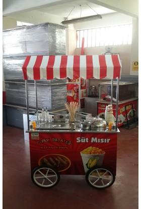 Altın Metal Bardakta Süt Mısır Hot Dog Arabası