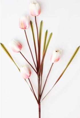 Yapay Çiçek Deposu Dekoratif Yapay Çiçek 5li Uzun Dal Lale 96 cm Beyaz