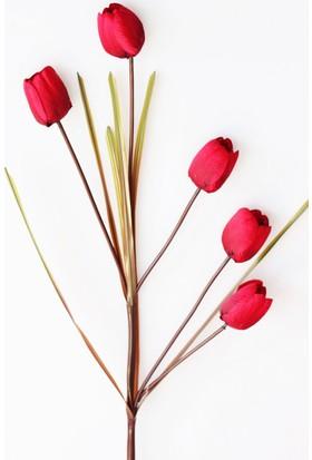 Yapay Çiçek Deposu Dekoratif Yapay Çiçek 5li Uzun Dal Lale 96 cm Kırmızı