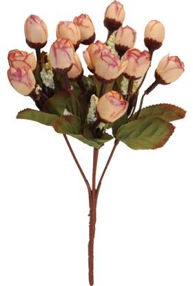 Yapay Çiçek Deposu Mini Gonca Gül Demeti (Somon)