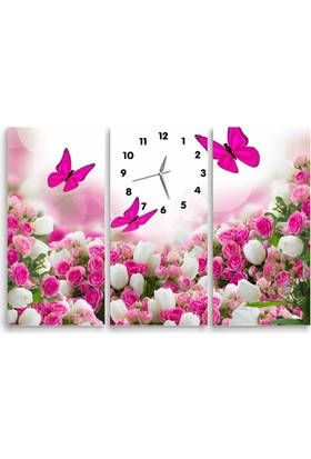ArtRedGallery 3 Parça Çiçek Tablo Saat 115 x 75 cm