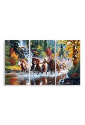 ArtRedGallery 3 Parça Hayvan Tablo Saat 115 x 75 cm