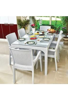 Holiday Rattan Plastik Oturma Grubu (90X150 Camlı Masa + 6 Rattan Koltuk) Rattan Sehpa Hediyeli
