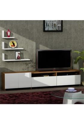 Dekorister Gelincik Tv Ünitesi Beyaz-Ceviz