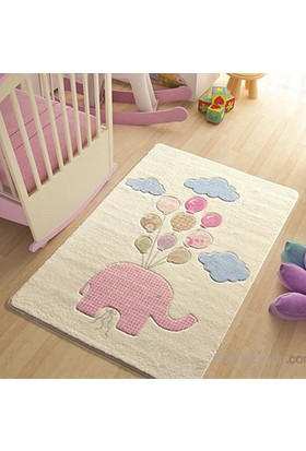 Confetti Sweet Elephant 100x150 cm Pembe Oymalı Çocuk Halısı