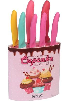 Rooc Pembe Cupcake Desenli 8 Parça Bıçak Seti Cpp01