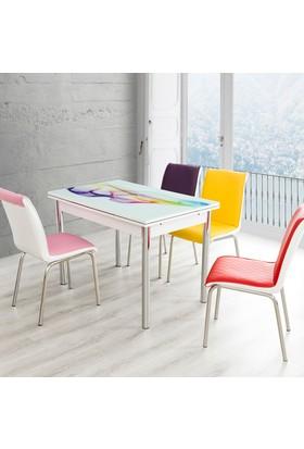 Evinizin Mobilyası Açılır Cam Mutfak Masası Masa Sandalye Şal Desenli(6 Sandalyeli)