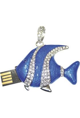 Gigausb Mavi Balık Taşlı Usb Bellek