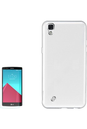 Gpack LG X Style Kılıf Ultra İnce 02mmSilikon Arka Kapak +Cam